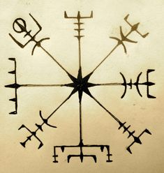 "Runic compass - preventng from getting lostVegvisir - The Icelandic word literally means 'guidepost': It is a Norse protection symbol, intended to help the bearer find their way through bad weather. ""if this sign is carried, one will never lose one's way… even when the way is not known"""