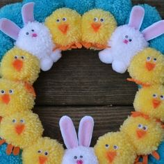 Easter Pom Pom Wreath with Bunnies and Chicks Bright Easter | Etsy Halloween Ornaments, Fall Halloween, Christmas Ornaments, Pumpkin Ornament, Coffee Filter Wreath, Pom Pom Wreath, July Birthday, Mesh Wreaths, Fourth Of July