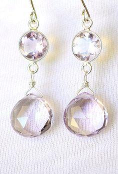 Pink amethyst earrings sterling silver pink
