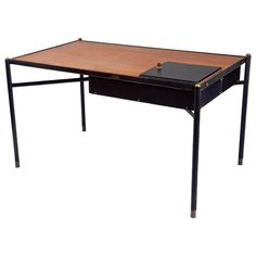 Desk by Jacques Adnet (1900-1984), France, c. 1940   From a unique collection of antique and modern desks and writing tables at https://www.1stdibs.com/furniture/tables/desks-writing-tables/