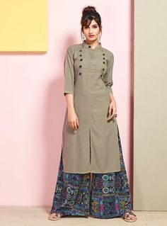 Fashion and pattern will be at the peak of your beauty after you attire this grey rayon cotton party wear kurti. Dress Neck Designs, Stylish Dress Designs, Stylish Dresses, Blouse Designs, Salwar Designs, Kurta Designs Women, Kurti Designs Party Wear, Plain Kurti Designs, Hijab Style