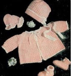 Crochet a Pink and White Set for Baby Pattern - Vintage  crochet (aff link)