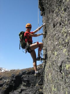 An amazing via ferrata climb to Trolltunga - Hardangerfjord in Norway.  No previous climbing experience needed - just the guts to do it! opplevodda.com provides guides.