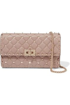 Valentino - The Rockstud Quilted Leather Shoulder Bag - Taupe Leather Tassel, Leather Chain, Quilted Leather, Metallic Leather, Women's Crossbody Purse, Crossbody Shoulder Bag, Leather Shoulder Bag, Chain Shoulder Bag, Shoulder Bags