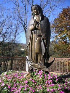 8' bronze sculpture of Our Lady of Guadalupe at the Shrine of Our Lady of Guadalupe in La Crosse, Wisconsin.