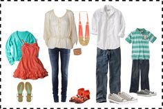 Colors scheme & clothing options for family photo @Stefanie Wee Wee Wee Pirkl @Rachel R R R R Pirkl @Laura Jayson Jayson Jayson Jayson Bean I love these colors!!! Great for spring/summer!