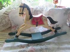 Hand Carved Wooden Rocking Horse, Christmas Ornament