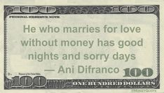 Ani Difranco Money Quotation saying those who find love lacking money will be happy with that love but unhappy otherwise