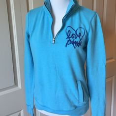 Turquoise Love Pink 1/4 Zip Sweatshirt Sized as an XS but would also fit a small PINK Victoria's Secret Tops Sweatshirts & Hoodies