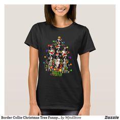 Border Collie Christmas Tree Funny Dog Lover Gift T-Shirt