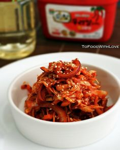 "Korean-style ""Slaw"" with Gochujang Dressing  http://tofoodwithluv.blogspot.com/2011/09/korean-style-slaw-with-gochujang.html"