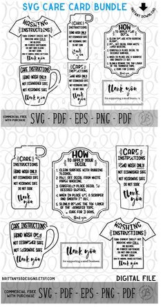 Care Instruction SVG Bundle -- love these! This is perfect for a cricut business! About Care Card Bundle, Care Instruction Cards, Decal and HTV Application instructions, Care Card SVG, Instruction Cricut Air 2, Cricut Vinyl, Cricut Help, Vinyl Decals, Shilouette Cameo, Cricut Tutorials, Cricut Ideas, Cricut Craft Room, Silhouette Machine