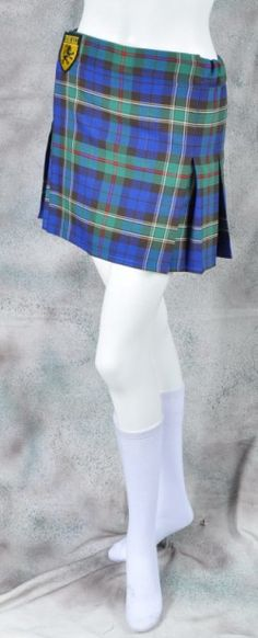 Sport Kilt, Women's Mini, size Small with belt loops, buckle closure, and pockets, in Hash House Harrier Hunting