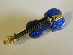 Vintage blue guilloche enamel violin brooch stamped Western Germany.