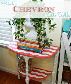 Paint a Chevron Side Table with Mom 4 Real! Ohhhh I have a little table very similar to this one :)
