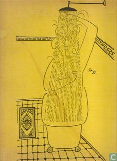 Saul Steinberg, The Art of Living, 1949 Saul Steinberg, Men In Shower, The New Yorker, Flower Sketches, Book Catalogue, Art Walk, Art Of Living, Mellow Yellow, Art Plastique