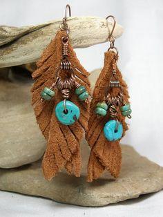 Turquoise Earrings - Feather Earrings - Leather Earrings - Native Earrings - Tribal Jewelry - Suede. $26.00, via Etsy.