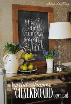 diy-frame-chalkboard-print-tutorial-small and this for cabinets as well. Framed Chalkboard, Chalkboard Printable, Chalkboard Lettering, Chalkboard Designs, Chalkboard Ideas, Chalkboard Drawings, Dear Lillie, Engineer Prints, Diy Photo