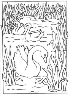 White Swan Printable Animals Valentine Coloring Pages