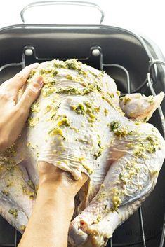 Easy Garlic Butter Herb Roasted Turkey Recipe | Wholesome Yum Best Roasted Turkey, Easy Turkey Recipes, Thanksgiving Turkey Recipes, Herb Recipes, Traditional Thanksgiving Recipes, Soup Recipes, Brine Recipe, Cooking Turkey, How To Cook Turkey