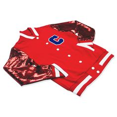 Red Sequin Bomber! Celebrate your favorite football team in style! #AFC #texans #giants #cardinals #49ers #buccaneers #chiefs #falcons #bills #patriots