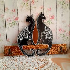cats hanger for keys handmade volume painting, free shipping! Home decor for cat lovers