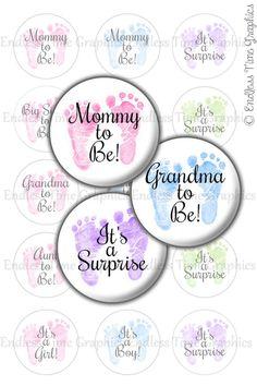 Baby Announcement Bottle Cap Images DIGITAL by EndlessTimeGraphics