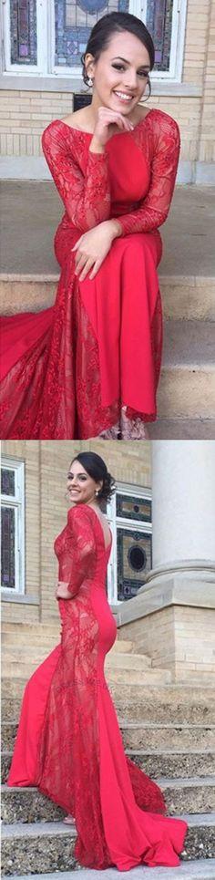 Largos Beautiful Prom Dresses,Red Appliques Prom Dresses,Long Sleeves Prom Dresses,Long Prom Dresses,Round Neck Prom Dresses