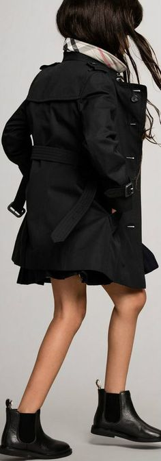 Burberry Kids Mini Me Sandringham Black Trench Coat. This classic black mini-me trench coat is designed by London fashion house, Burberry. Traditional  Look for Girls Inspired by the Designer Burberry Prorsum Women's Runway Collection at London Fashion Week. #burberry #girlsclothing #minime #kidsfashion #fashionkids #childrensclothing #girlsfashion