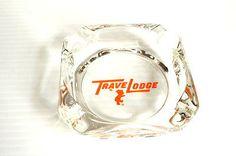 TRAVELODGE VINTAGE GLASS ASHTRAY Souvenir Keepsake Promotional hotel motel