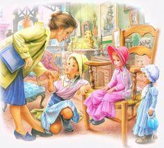 martine_marcel-marlier- Marcel, Vintage Prints, Vintage Art, Designer Kids Wear, Illustration Photo, Mother Art, Fable, Chica Anime Manga, Indian Paintings