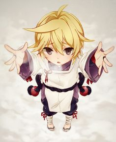 vocaloid kagamine len pixiv id 3524830 blonde looking at viewer male open mouth outstretched hand project diva aitetsu purple eyes sad short hair short ponytail solo traditional clothes wafuku white outfit Chibi Anime, Anime Kawaii, Manga Anime, Anime Art, Rin E Len, Kagamine Rin And Len, Hatsune Miku, Vocaloid Characters, Mikuo