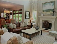 Coastal Living Room Snelson Reichlyn Are You Seeing That Leather Couch And Those Drapes