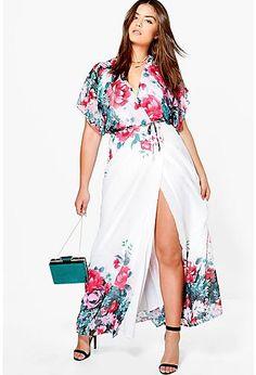 Plus Alisha Floral Hem Plunge Maxi Dress