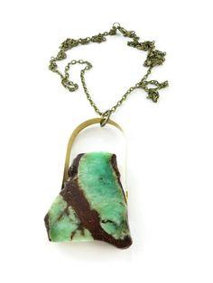 Chrysoprase Necklace Stone Specimen Jewelry Sea Green by Ttereve