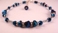 Beaded Metallic Blue Crystal Anklet Ankle Bracelet Beaded Jewelry
