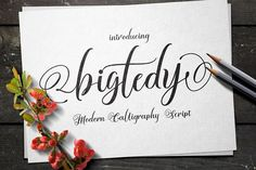 BIGTEDY - A handwritten calligraphy WEDDING FONT. Perfect for wedding invitations, thank you cards, DIY wedding invitations, wedding decor, etc.