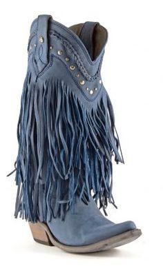 Womens Liberty Black Fringe Cowboy Boots Russian Blue #Lb-71124blue #cowgirl #western #fringe #countrygirl #weddingboots #blueboots