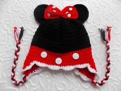 Items similar to Crochet Minnie Mouse Hat in Black,Red with Ears and earflaps for baby-Any size&colour combination on Etsy Crochet Minnie Mouse Hat, Crochet Hats, Unique Crochet, Red Heart Yarn, Cute Hats, Photo Props, Mittens, Color Combinations, Baby Shower Gifts