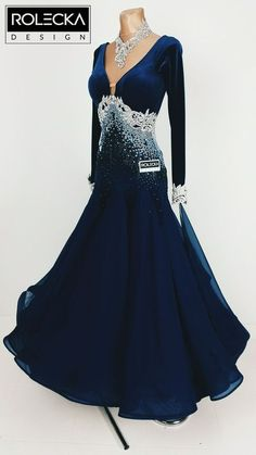 Elegant Ballroom dance dress with white lace and rhinestone accents . . . . ... . . by Rolecka Design