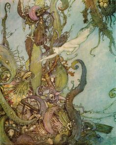 An illustration for The Little Mermaid by Edmund Dulac