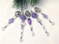Purple and Silver Icicle Ornaments  beaded by CJKingOriginals, $18.00