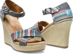 New TOMS Blue Denim Stripe Women's Strappy Wedges. Colorful stripes play well with a denim backdrop, creating a look that will prance you into the warmer months. Back To School Contest Striped Wedges, Striped Sandals, Wedge Sandals, Wedge Shoes, Womens Toms, New Shoes, Women's Shoes, Blue Denim, Fashion Shoes