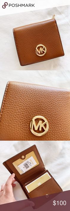 a98138539e73bb Michael Kors Fulton Carryall Brown Card Case Measurements(inches) :  Approximately 4.25