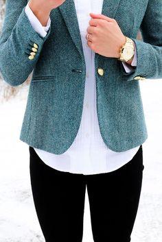 J.Crew Herringbone Blazer - Class Meets Couture