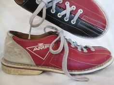 CLASSIC VINTAGE AMF bowling shoes  two tone red by johnnybombshell, $22.00