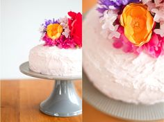 cake topper made with fabric flowers