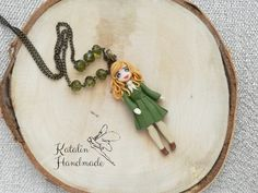 Polymerclay fimo chibi ooak doll retro girl in olive dress by Katalin Handmade (2018).