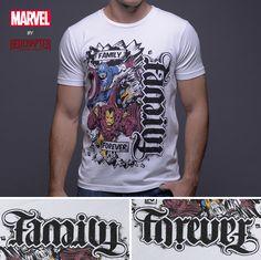 d4eb857bb Family / Forever - White Short Sleeve Men's Crew Neck T-Shirt (Avengers  Retro