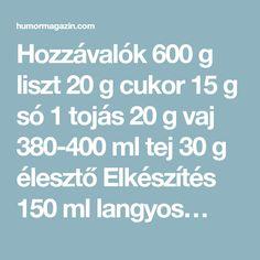 Hozzávalók 600 g liszt 20 g cukor 15 g só 1 tojás 20 g vaj 380-400 ml tej 30 g élesztő Elkészítés 150 ml langyos… Vaj, Cukor